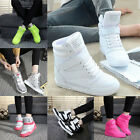 Womens High Top  Velcro Hidden Wedge Sneakers Lace Up Casual Shoes Ankle Boots