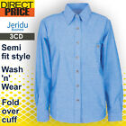Ladies Womens Chambray Blouse Shirts Business Long Sleeve Cotton Office DARKBLUE