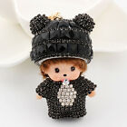 Monchichi crystal rhinestone girl key chain fashion doll Purse pendant keyring