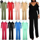 Ladies Frill Cold Shoulder Cami Strap Playsuit Womens Palazzo Wide Leg Jumpsuit