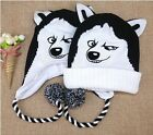 Fashion New Women Men's Fanny Husky's Smile Winter Warm knit Beanies Black&White