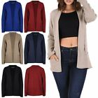 Womens Fine Knit Stretchy Jumper Ladies Warm Plain Open Front Cardigan Top