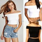 Womens Ladies Off Shoulder Crop Top Bardot Sleeveless Vest Short T-Shirt K0E1