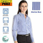 Womens Blouse Shirts Cotton Ladies Casual Office Top Business Herringbone Blue