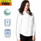Ladies Womens Shirts Blouse White Oxford Business Office Long Sleeve Top