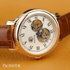 PACIFITOR Mens Gents Retro Mechanical Skeleton Analog Wrist Watch Brown Leather