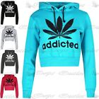 Womens Weed Addicted Slogan Cropped Top Ladies Hoodie Jumper Fleece Sweatshirt