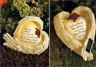 Solar Garden Angel Wings Outdoor Memorial Stone Plaque In Memory of  A Loved One