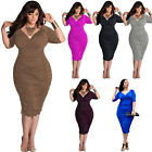 Plus Size Sexy Womens V Neck Bandage Evening Party Cocktail Ladies Maxi Dress