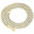 1/10th 10K Yellow Gold Diamond Cut Curb Cuban Chain Necklace 4mm 20- 30 Inch