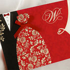 Personalized Red Bride & Groom Wedding Invitations Cards + Envelopes + Seals