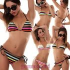 Bikini woman swimwear sea triangle striped two pieces bandeau new B0618
