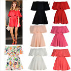 Women Ladies Ruffle Off Shoulder Celebrity Short Mini Flared Bodycon Frill Dress