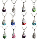 Hot Drop Full Crystal Rhinestone Chain Necklace Pendant Disco Ball Silver Plated