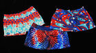 "GYMNASTIC DANCE SHORTS RED WHITE & BLUE PATRIOTIC SPECIAL 1"" INSEAM YOUTH NWT"