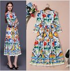 2016 Autumn New Occident Popular Runway Hot Sale Printing Holiday Long Dress