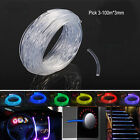 3-100M* 3mm Car Home LED Lighting Decoration Side Glow Fiber Optic Cable New