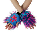 PAWSTAR Pawlets Furry Paw Cosplay Fingerless Gloves Party Fur Monster Blue 3172