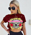 New Women Cotton GUNS and Roses Print Holes Crop Top Short Sleeve Tee Shirt