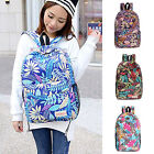 Retro Casual Girls Canvas Rucksack Leaf Printed Backpack Books Cellphone Holders