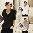 2016 Women Fashion Sexy V-Neck Loose Tops Blouse Solid T-Shirt Tee Nice Best