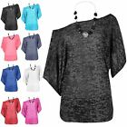 Womens Necklace Gathered Baggy Burn Out Short Batwing Layered Mini Dress Top