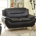 Leather Sofa Set Armchair Loveseat Living Room Furniture Black Modern Metal New