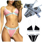 Women Lady Letters Printed Bra & Underwear Set Lingerie Ribbon Push Up Brassiere