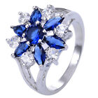 Size 7-9 Blue Sapphire & White Topaz 925 Sterliing Silver Gemstone Ring A032