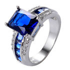 Blue Sapphire & White Topaz 925 Sterliing Silver Gemstone Ring Size6-10# A416
