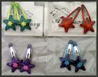 2 SMALL METAL PET FUR CLIP/SNAP METALLIC STARS SELECT COLOR SHIPS FAST FROM USA