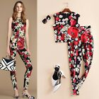 Italy 16 New Popular Style  Runway Noble Printing Fashion Top+ Thin Pants Suits