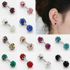 NY Metal Crystal Barbell Cartilage Helix Tragus Ear Studs Bar Earring Piercing