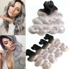 3bundles 300g #1b/Grey Ombre Brazilian Remy Body Wave Human Hair Extensions
