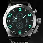 AVIATRIX Mens Quartz Army Leather Wrist Watch Flyback Chrono Luxury Night Vision