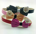 XS S DOG COLLAR RHINESTONE TEACUP THIN BOW X SMALL CAT PUPPY TOY ADJUSTABLE