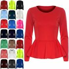 New Womens Ladies Plain Long Sleeve Flared Stretchy Peplum Frill Mini Dress Top