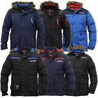 Mens Parka Jacket Rawcraft Coat Padded Hooded Faux Fur Lined Casual Winter New