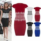 Womens Ladies Lace Cap Sleeves Pencil Celeb Stretchy Embossed Bodycon Mini Dress