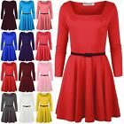 Women Ladies 3/4 Sleeve Square Neck Flared Swing Party Mini Skater Dress UK 8-26