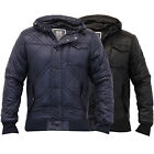 Mens Jackets Crosshatch Coat Diamond Quilted Padded Hooded Bomber Lined Winter