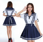 Women Lady Sailor Dress Japan Lolita Maid Uniform Cosplay Costume T-Shirt Skirt