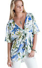 Top - Tropical Print, Wrapped-Waist