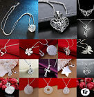 Girl Beautiful Necklace With Pendant Women Fashion 925 Plated Silver Chain CHIC