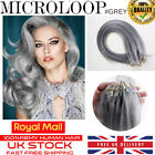 "16"" 18"" 20"" 22"" 24"" 26"" Grey Remy Micro Loop Ring Human Hair Extensions 100s UK"
