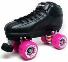 NEW 2016 Riedell R3 Energy Outdoor Quad Roller Speed Skates Black & Purple 78A