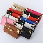 Luxury Fashion Rivet Zipper PU Leather Wallet Purse Case Bag For iPhone Samsung