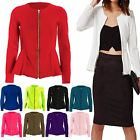 Womens Tailored Zip Up Ladies Long Sleeves Peplum Ruffle Frill Jacket Blazer Top