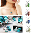 Fashion Sweet Women Lady Happiness Lucky Clover Crystal Pendant Necklace Gifts