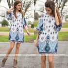 Women Bohemian Floral Print Loose Half Sleeve Casual Mini Dress Hot Sale